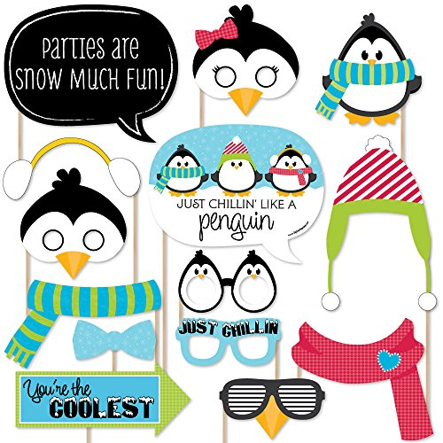 Holly Jolly Penguin Christmas - Holiday Photo Booth Props Kit - 20 Count