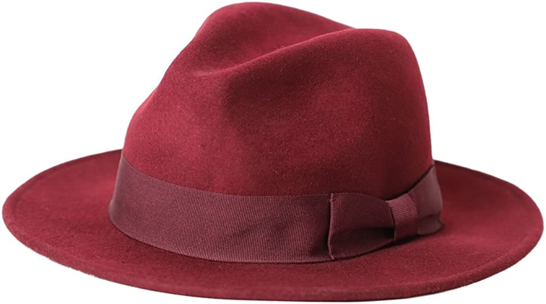 Vitality Shop Womens 100/% Wool Felt Hat Jazz Hat Cowboy Hat Big Bowknot