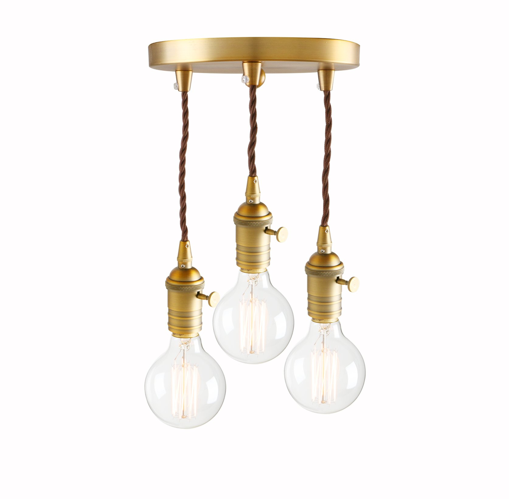 Pathson 3 Lights Industrial Mini Pendant Lighting, Vintage Simple Home Ceiling Light Fixture Flush Mount with Adjustable Textile Cord Pendant Cluster Light (Bulbs Not Included)