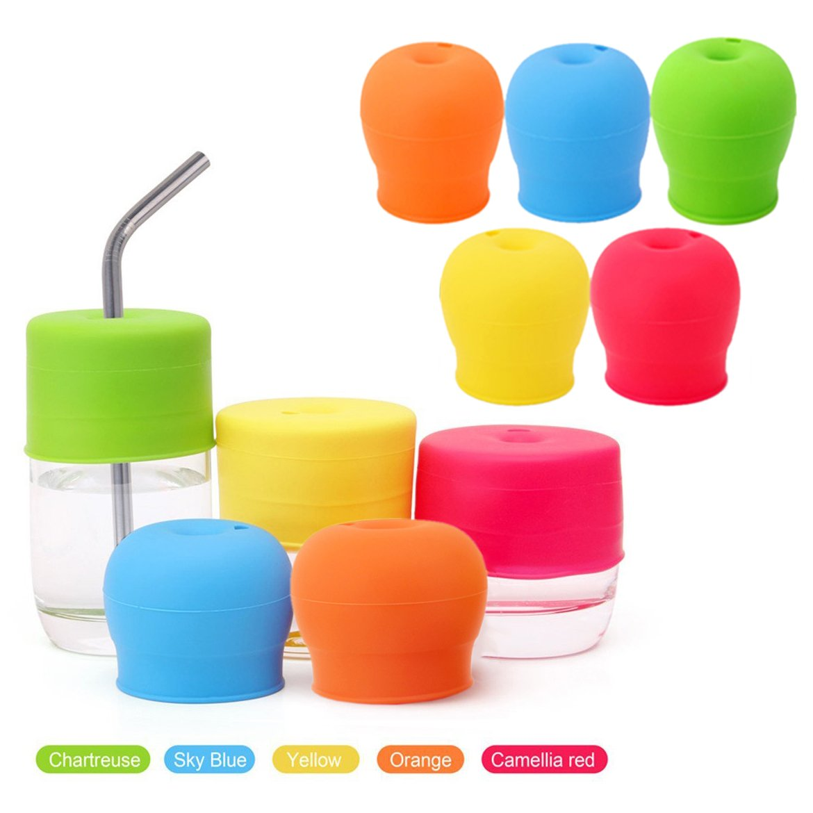 OFKPO 5 PCS Silicone Sippy Lids Reusable Silicone Straw Cup Lids Spill-Proof Sippy Cup for Babies and Toddlers