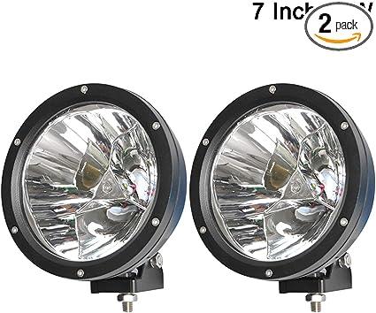 2x 12v 8 Inch Chrome Round Spot Fog Lights Lamp 4x4 Van Car Pickup Caravan Bus
