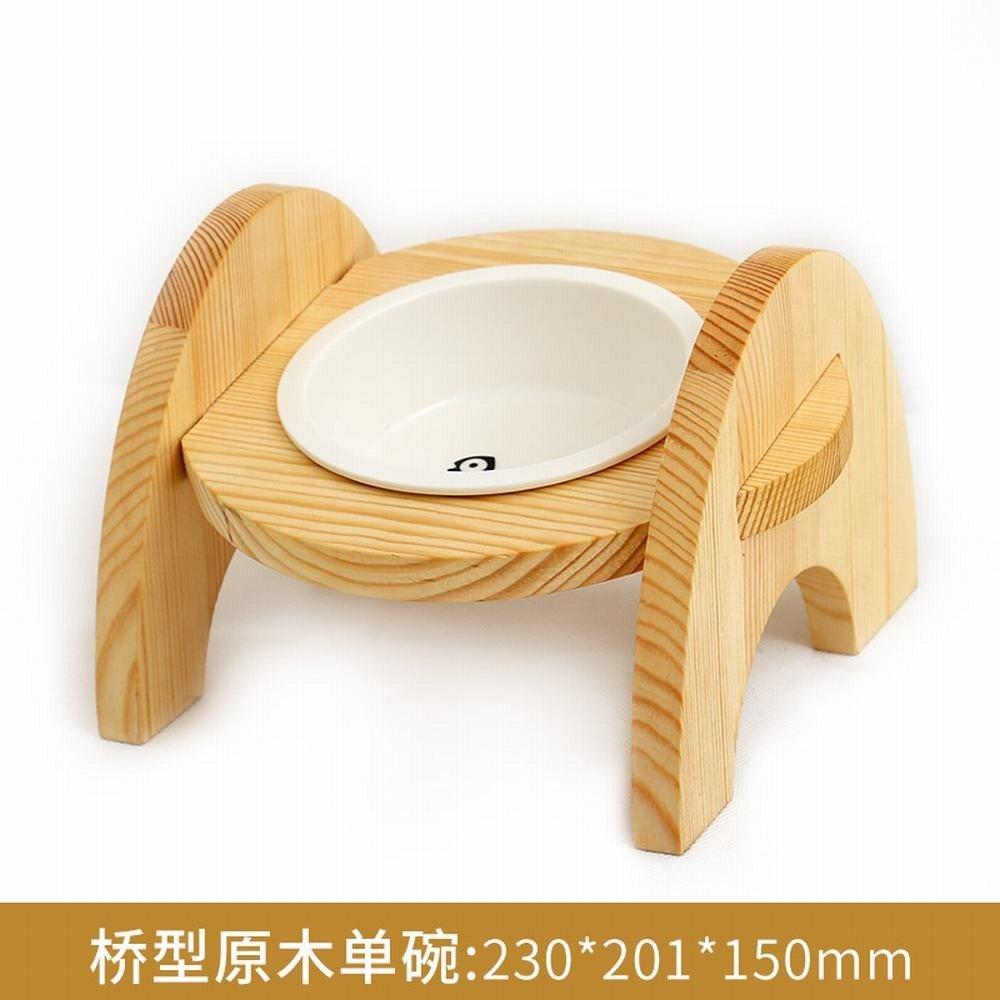 WU -pet Forniture Cat Bowl Doppio Bowl di cat Food Bowl Wood Frame Ceramic Dog Bowl gatto Bowl di Rice Bowl, Bridge Tipo Wood Single Bowl
