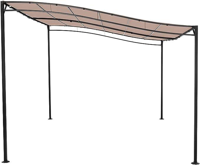 Uniprodo Pérgola De Metal Pabellón para Terraza Uni_Gazebo_3X4B (Toldo de 3 x 4 m, 180 g/m², Altura Total: 2, 40 m, Color Beige): Amazon.es: Jardín