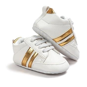 cc0b613cdb84 Amazon.com   Hongfei 0-6 months+(White + Gold Stripe) Baby First Walking  Shoes