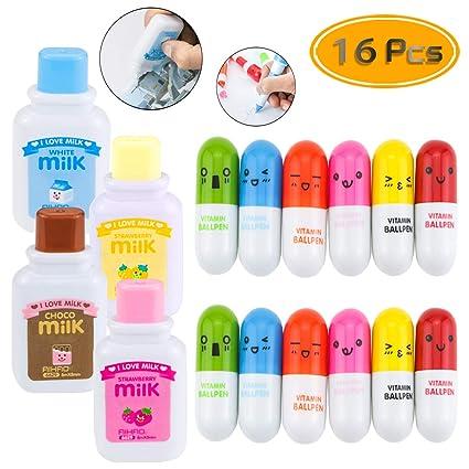8ed38159ab45 PRALB 12PCS Smiling Face Pill Shape Ballpoint Pens, 4PCS Milk Bottle Style  Correction Tapes Cute Cartoon Favor Retractable Ball Pens Cartoon ...
