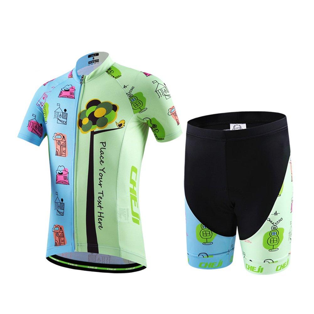 LSERVER Jersey Maillot de Cyclisme Manches Courtes + Cuissard pour Enfant Gaçon Fille