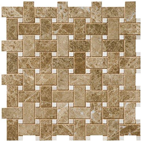 Dal-Tile M712BSKTWVMS1L Marble Tile EMPERADOR Light Basketweave POL Mosaic 11 11/16