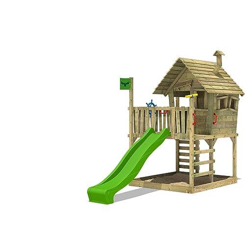 FATMOOSE Aire de jeux en bois WackyWorld Mega XXL Cabane Maison d'enfants pour jardin, avec toboggan vert clair