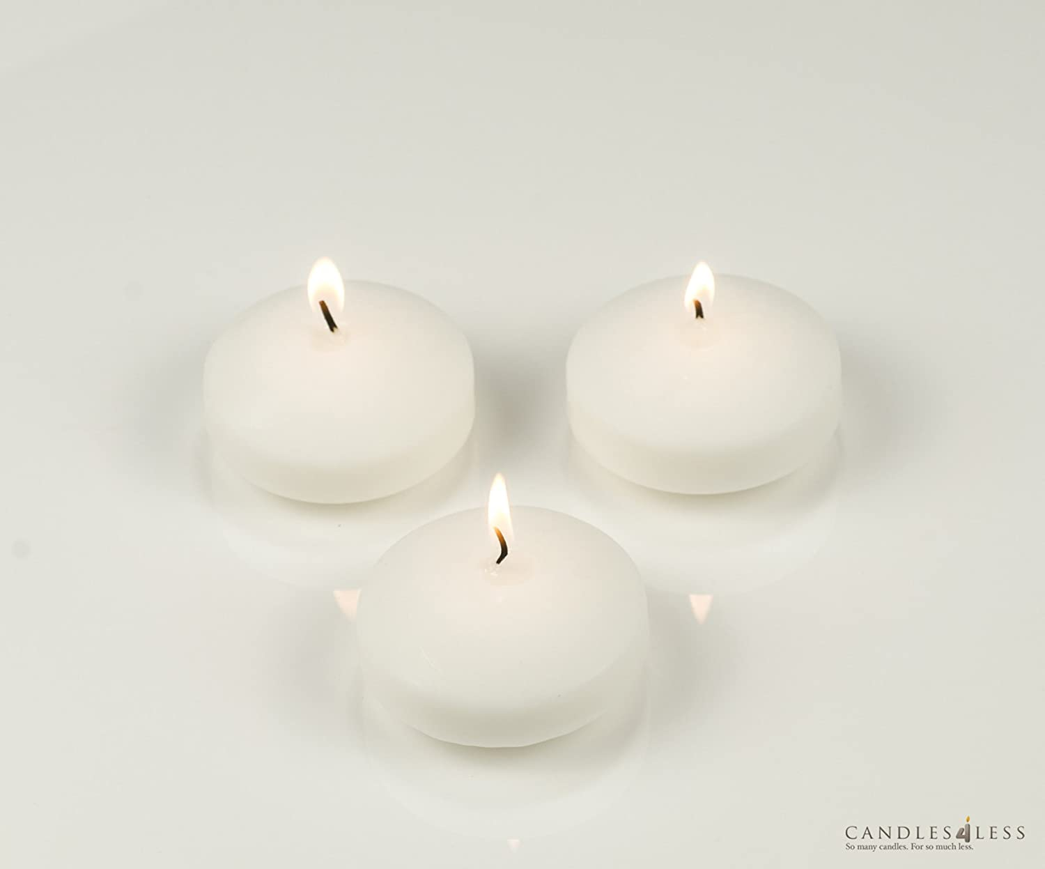 3 Inch Floating Candles Set of 12 White Unscented