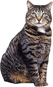 """Paper House Productions 3.5"""" x 2"""" Die-Cut Brown Tabby Cat Shaped Magnet for Refrigerators and Lockers"""