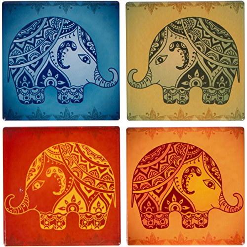- Planet Ethnic Colorful Modern Elephant Designer Ceramic Coaster Set (4 coasters, each almost 4 X 4 inches) with matching wooden coaster holder.