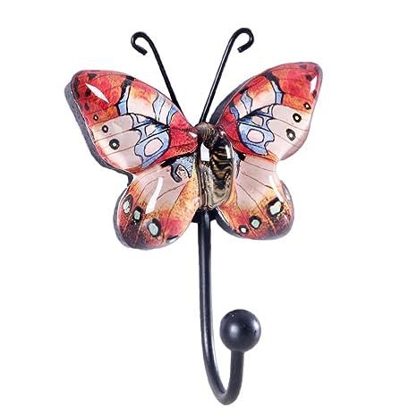 Appendiabiti Da Parete Farfalle.Nikky Home Appendiabiti Da Parete Con Singolo Gancio Attaccapanni A Muro Farfalla Per Vestito Asciugamano Cappello In Metallo E Vetro Arancione