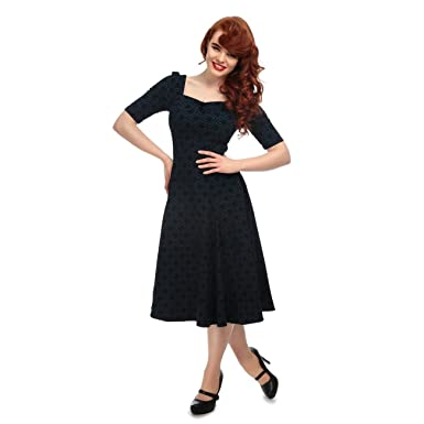 1835604426 Collectif Vintage Women's Dolores Doll Half Sleeve Brocade Swing Dress Blue  Black: Amazon.co.uk: Clothing