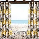 Lush Decor Leah Window Curtain Panel Set 84″ x 52″ Yellow & Gray For Sale