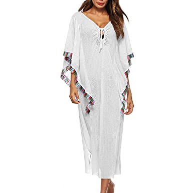 4c5a902eb38cf Halijack Women Summer Cover Up Ladies Tassel Flare Sleeve Hollow Out Maxi Dress  Beachwear Plus Size