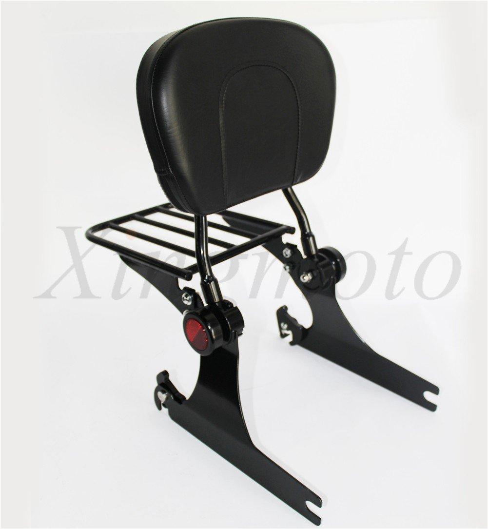 Adjustable Backrest Sissy Bar w//Luggage rack For Compatible with Harley Dyna 02-05 Black NBX