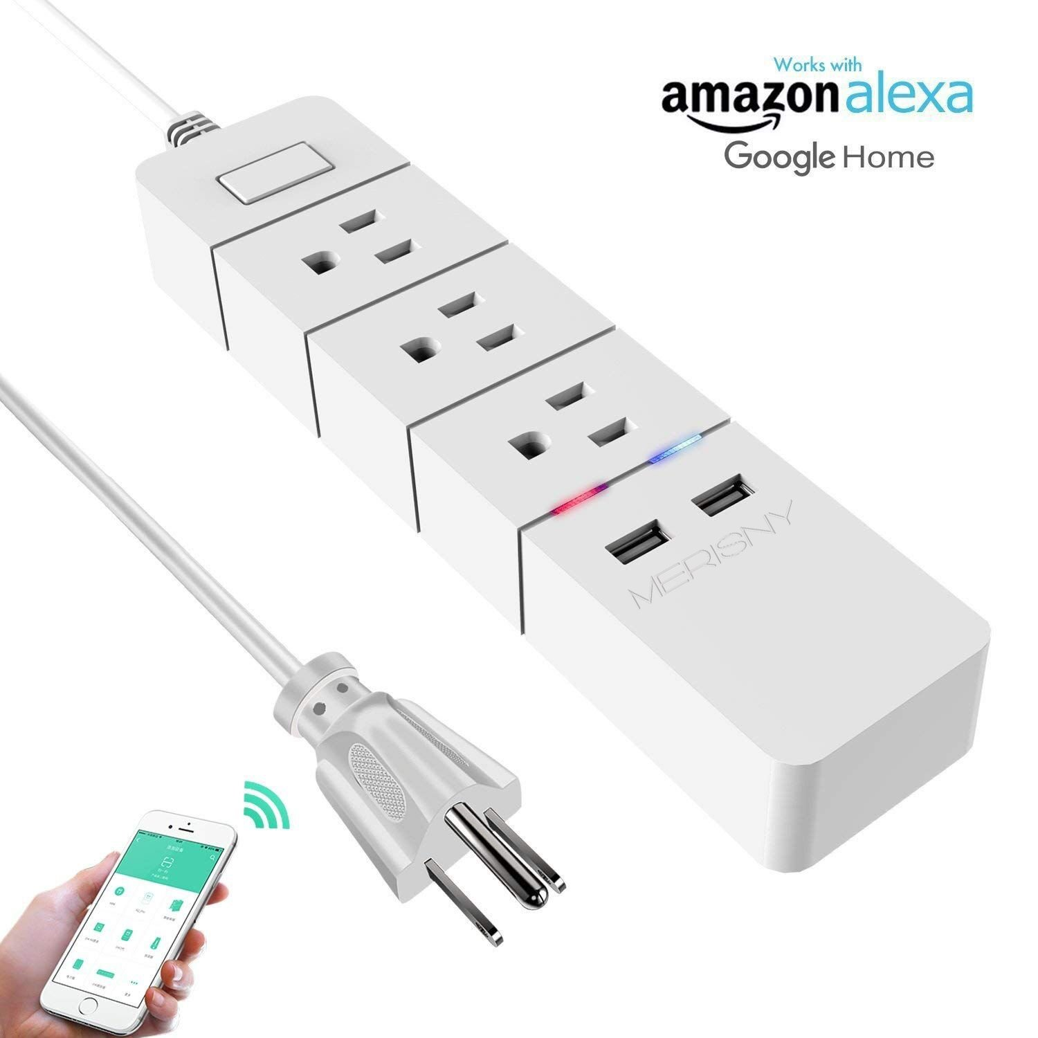 Merisny WiFi Power Strip Smart Surge Protector with Individual Control - Works with Alexa Google Home - Smart Surge Protector with USB - Remote Control by Smart Phone