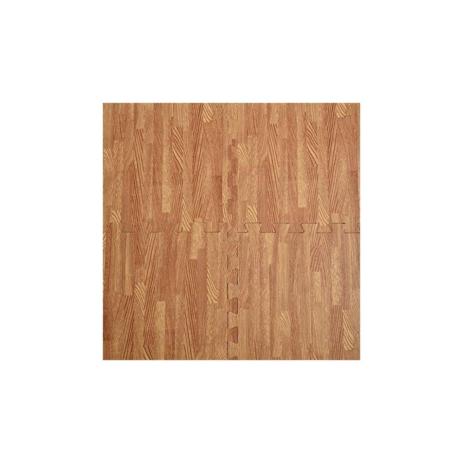 48 Sq Ft EVA Foam Floor Interlocking Mat Show Floor Gym Mat Wood Color