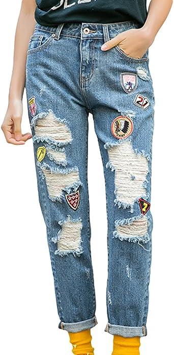 Zhiyuanan Mujer Moda Vaquero Con Parches Baggy Rasgados Rectos Mezclilla Pantalones Casual Baggy Rotos Denim Jeans Azul Oscuro Xl Amazon Es Ropa Y Accesorios