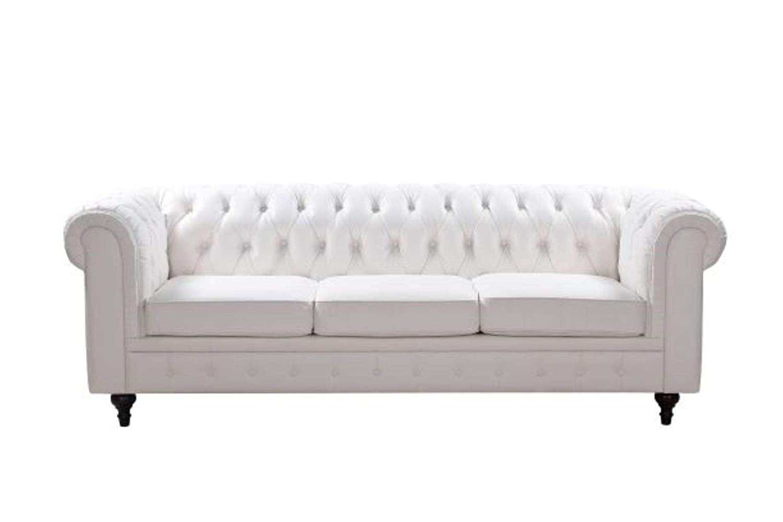 Amazon.com: Chesterfield White Sofa - White - Houston TX ...