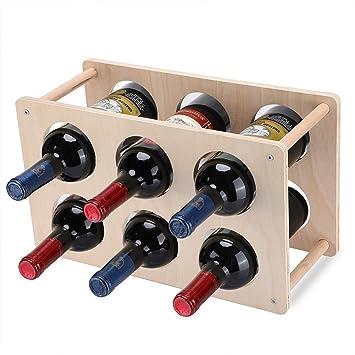 Lisuu 2-Tier Wine Storage Rack - Rustic Wood Wine Rack Bottles - Perfect  for Bar, Wine Cellar, Basement, Cabinet, Pantry, etc, Stackable Wine Rack