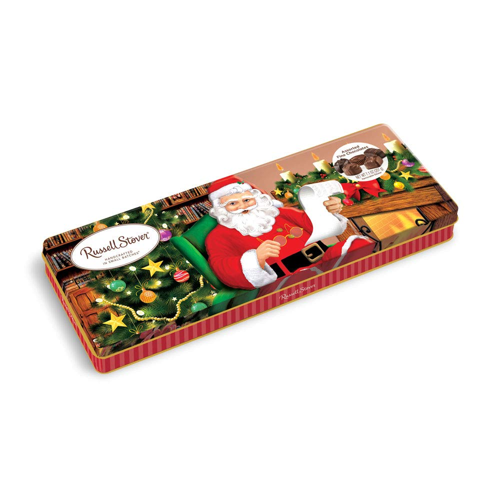 CDM product Russell Stover Assorted Chocolate Santa Tin 7.1 Ounce 6 Count big image