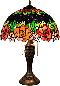 Tiffany Style Desk Lamp 16 Inch European Retro Colored Crystal Rose Bedroom Bedside Decor Lamp with Antique Resin Base for Living Room Study,E27