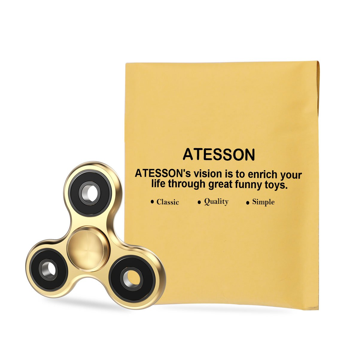 ATESSON Fidget Spinner Toy 4-10 Min Spins Ultra Durable Stainless Steel Bearing High Speed Precision Metal Material Hand Spinner Focus Anxiety Stress Relief Boredom Killing Time Toys - Silver by ATESSON (Image #8)