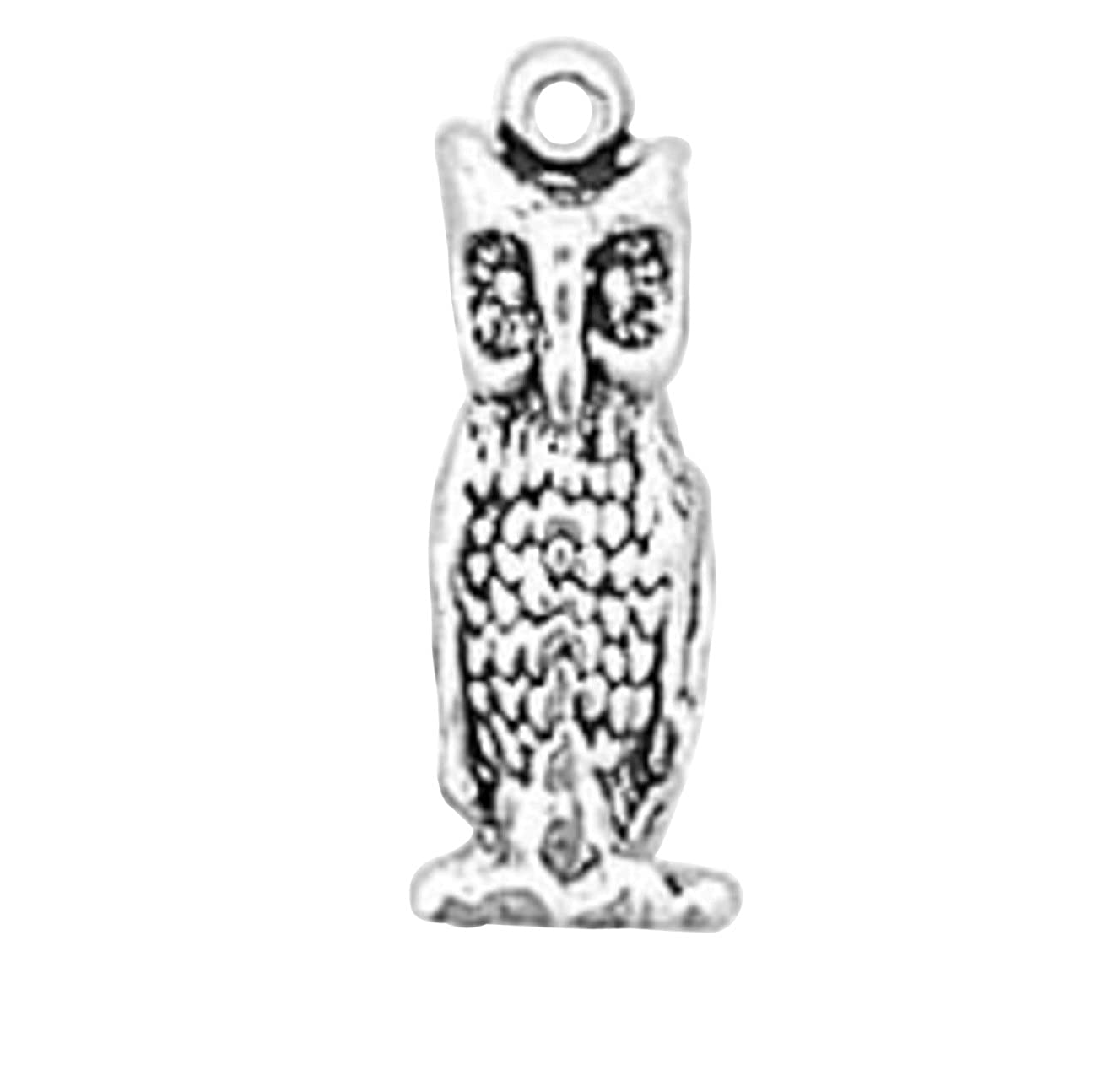 Sterling Silver Girls .8mm Box Chain 3D Large Owl Facing Forward Pendant Necklace