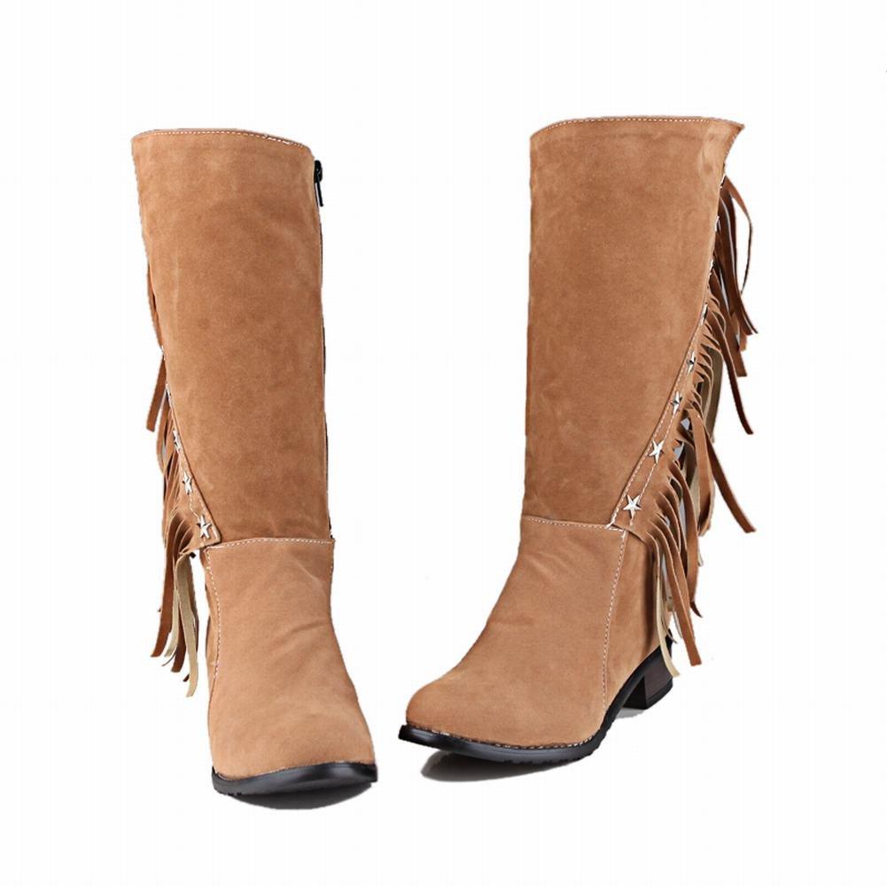fbd7870b0a38 Carolbar Zip Quasten Frauen Plus Größe Quasten Zip Rivet Größe Vintage Low  Heel Mid-Calf Stiefel Gelb 2205991 - 5mg-cialis-for-sale.site