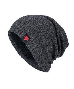 Cappello Uomo, Rcool Uomini e donne stella a cinque punte più cappelli autunnali e invernali in velluto (Grigio)
