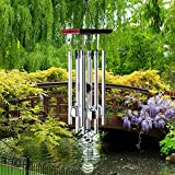 """Premium Wind Chimes Outdoor, 22"""" Amazing Grace Wind Chimes Punada for Outdoor Indoor Patio Garden Balcony, Beautiful Outdoor Decor (Silver)"""