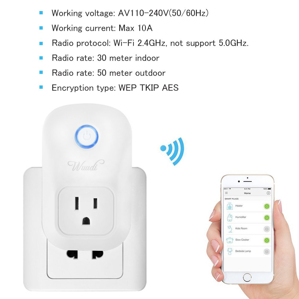 Wifi Smart Plug Wuudi Wireless Outlet No Hub Required Smart Timing Socket, Wireless Remote Control Your Devices Work with Alexa (2 Packs) by Wuudi (Image #2)