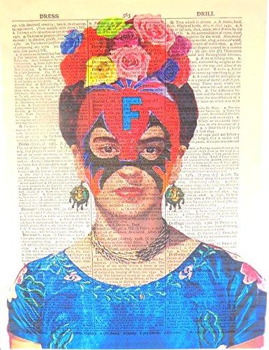 - Art N Wordz Frida Kahlo Lucha Libre Original Dictionary Sheet Pop Art Wall or Desk Art Print Poster