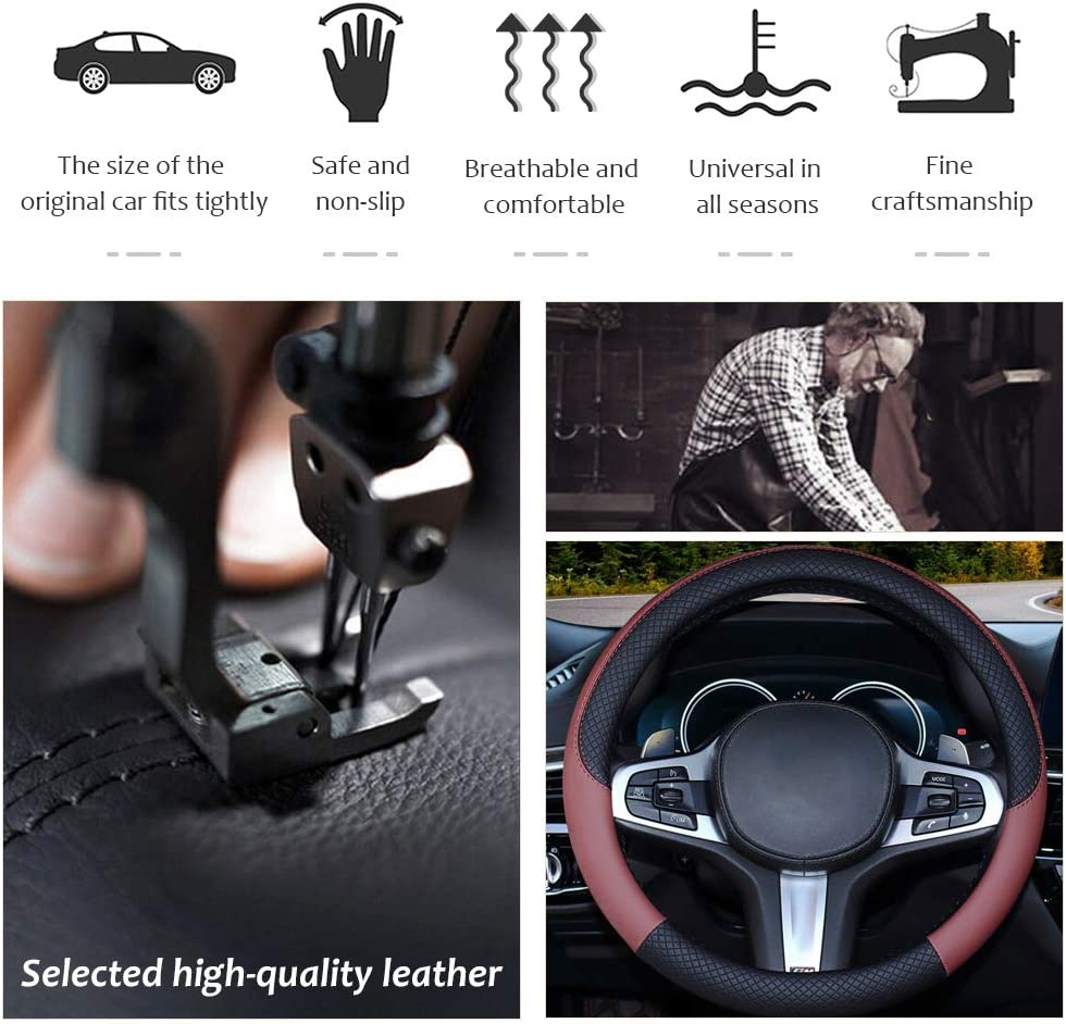 wine red Pahajim Universal Steering Wheel Cover Breathable Anti-Slip Car Steering Wheel Protector for Men Women 37-38cm Wheel Covers