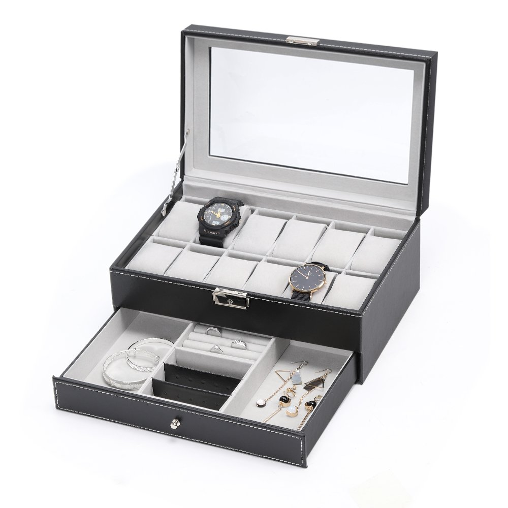 NEX Watch Box,12 Slot Double-Layer PU Leather Case Organizer with Jewelry Tray Drawer for Storage and Display (11.8'' x 7.8'' x 5.1'')