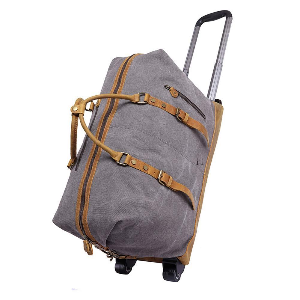 超軽量 旅行用 大容量旅行トロリーバッグ - メンズ 多機能 ポータブル レトロ 斜めキャンバス トロリーバッグ 2輪付き - グレー B07JJD3L4B グレー