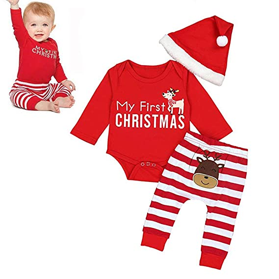 5e851caa0 Freshmarque Unisex Cotton Baby Girls Boys Christmas Outfits Rompers Long  Sleeve Bodysuit Stripe Pants with Xmas