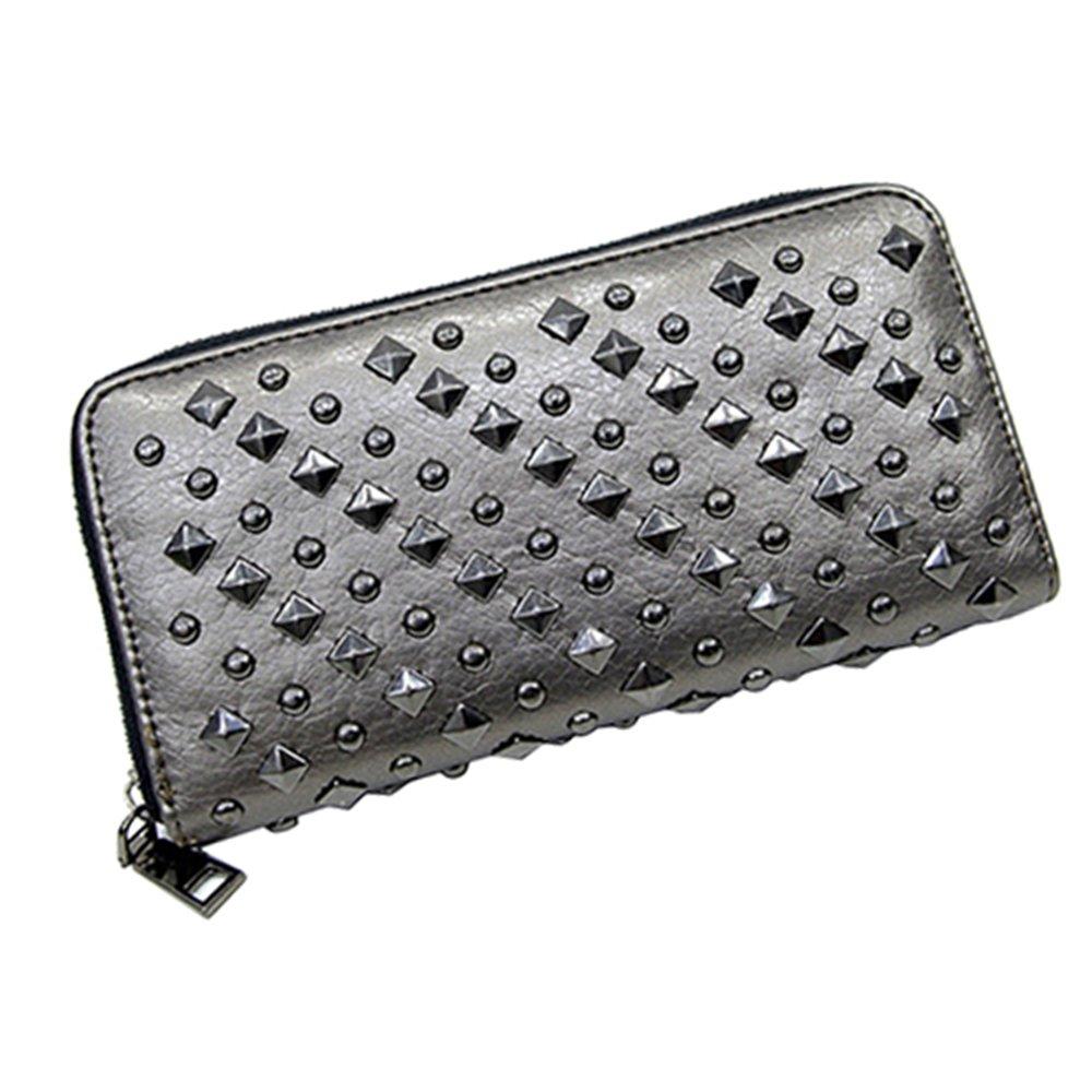 Sanwood Faux Leather Cool Fashion Women Punk Style Spike Handbag Rivet Studded Long Wallet Phone Bag