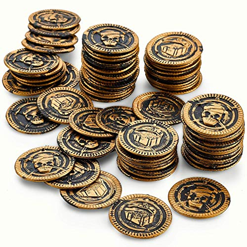 Kicko Pirate Coins Pirates Treasure Coins - 72 Pack Plastic - Pirate Doubloons Chest Fillers - for Kids, Toys Games, Great Party Favors, Bag Stuffers, Fun, Toy, Gift, Prize, Piñata Filler