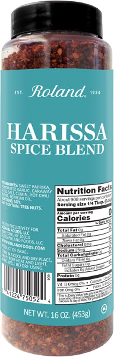 Roland Foods Harissa Spice Blend, Specialty Imported Food, 16-Ounce Bottle