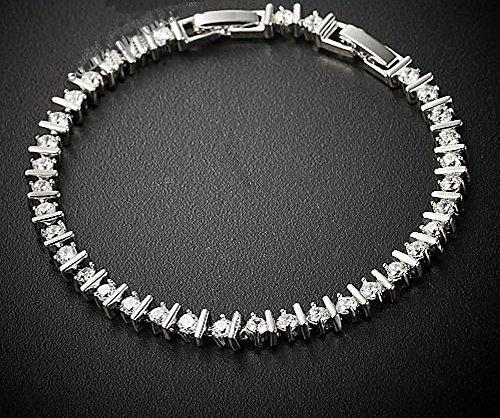 Joli Design pour ce Bracelet Plaqué Or Blanc Cristaux Ronds SWAROVSKI ELEMENTS - SV31