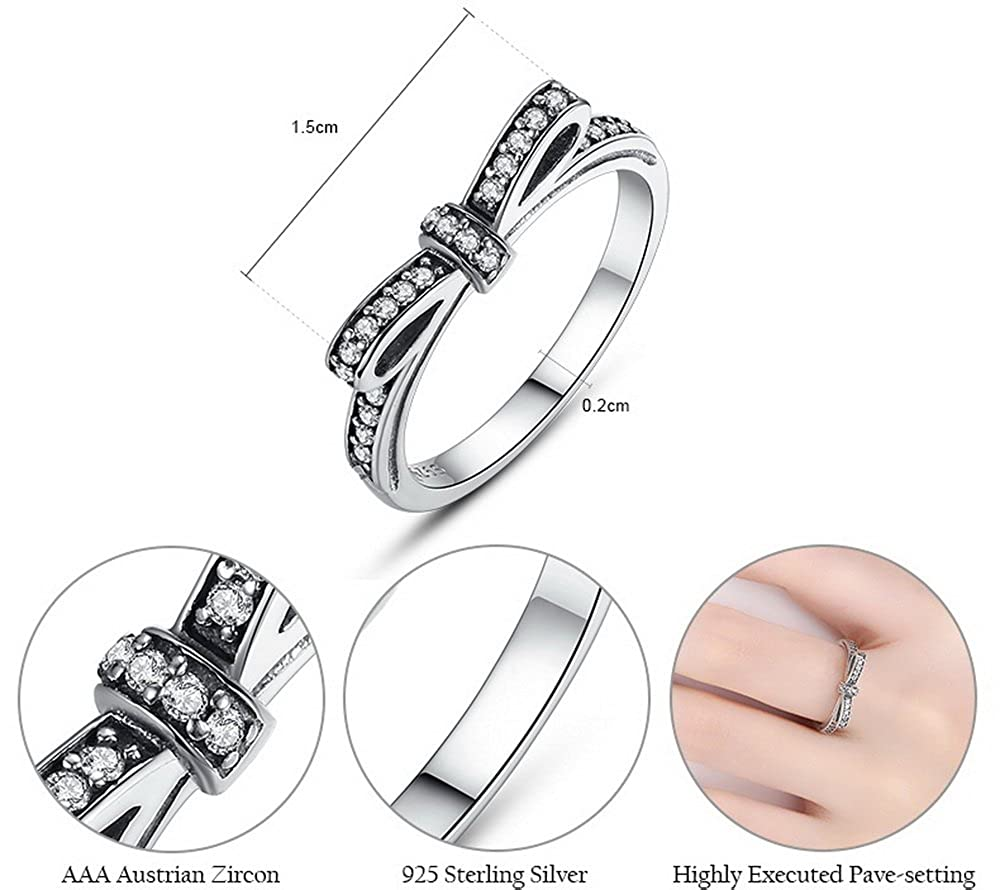 PAHALA 925 Sterling Silver Bow-Knot Cubic Zirconia Pave Wedding Engagement Band Ring