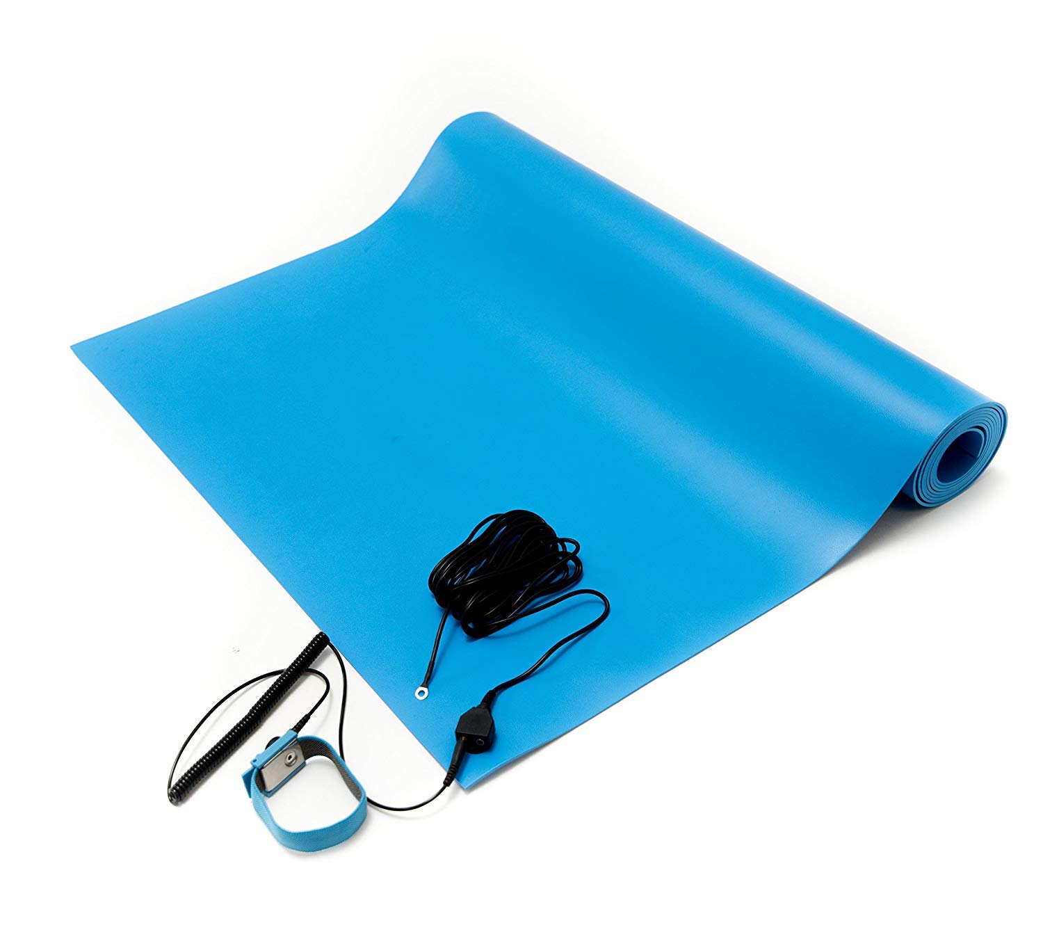 Bertech ESD Mat Kit with a Wrist Strap and a Grounding Cord, 20'' Wide x 30'' Long x 0.093'' Thick, Blue (Made in USA)