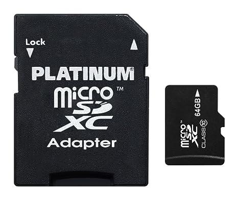 Platinum 177323 - Tarjeta Micro SDXC (Clase 10, 64 GB), Color Negro