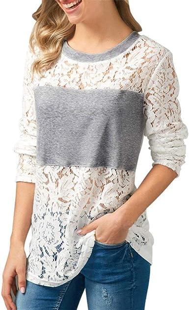 Camisas Mujer Primavera Elegante Moda Blusas Hueco Splice Encaje Top Slim Fit Modernas Casual Manga Larga Cuello Redondo Shirt Moda Joven Casual Camisas: Amazon.es: Ropa y accesorios