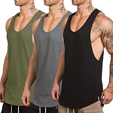 1dc04a01d4a9a3 Rexcyril Men s 3 Pack Workout Gym Tank Top Fitness Bodybuilding Stringer  Muscle Cut Sleeveless T Shirt