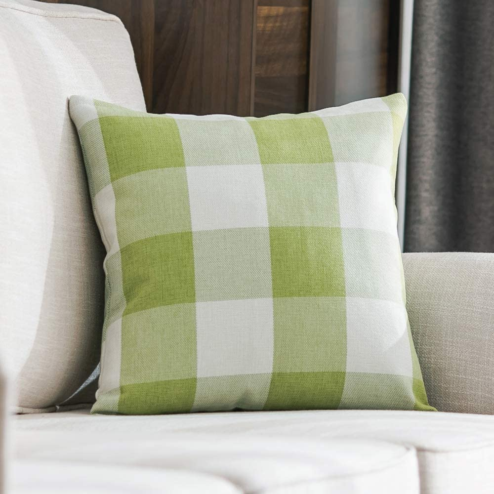 MIULEE Classic Retro Checkers Plaids Cotton Linen Soft Solid Green and White Decorative Throw Pillow Cover Home Decor Design Cushion Case for Sofa Bedroom Car 24 x 24 Inch 60 x 60 cm