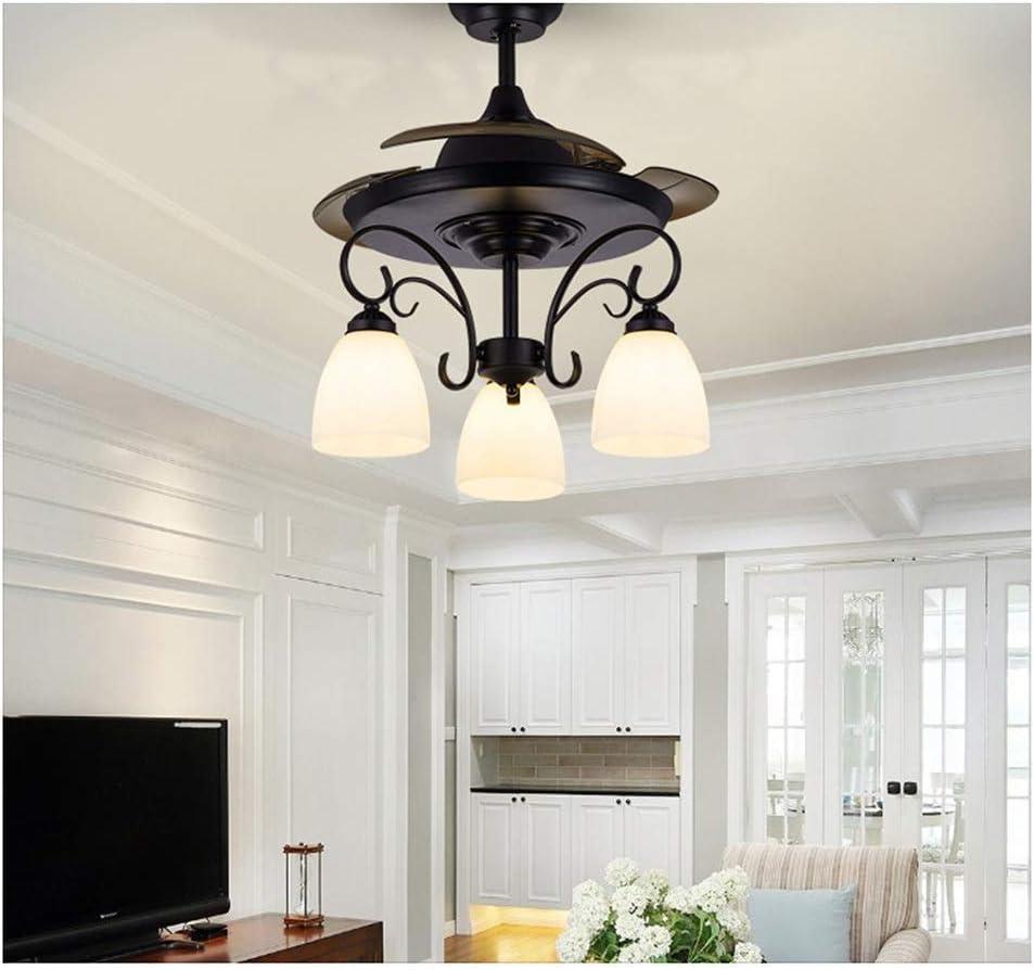 5 ventiladores de techo con lámpara, lámpara de ventilador de restaurante, iluminación colgante de ventilador de sala de estar retro, interruptor de control de pared, 36 pulgadas /