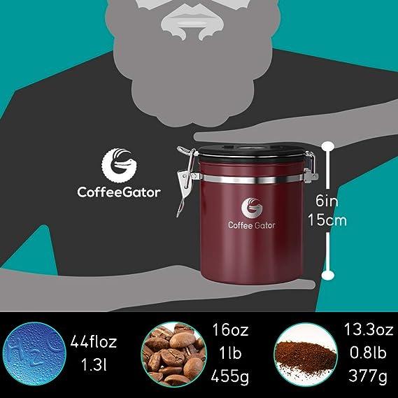 Santiago Javier Bo/îte de rangement /à caf/é en acier inoxydable avec valve Co2 et cuill/ère /à mesurer